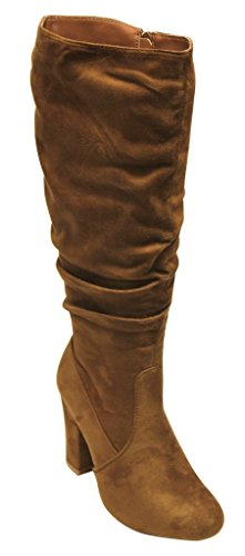 Top Moda Zola-5 women's almond toe slouchy shaft chunky heel suede side zip knee high boots Dk Tan 9