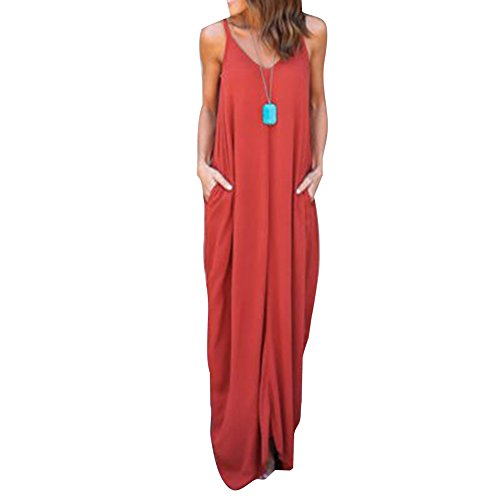 7f5b450f69c2 Frauen Boho Maxikleider Langes Strandkleid Träger Ärmellos Freizeit Kleider  Abendkleid Übergroße Frauenkleid Weich Bequem Orange uHQlrk