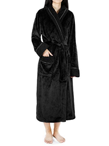 Deluxe Women Fleece Robe with Satin Trim   Luxurious Plush Spa Bathrobe Waffle Design Black