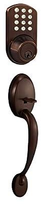 MiLocks BTF-02OB Digital Deadbolt Door Lock and Passage Handle Set Combo with Keyless Entry via Keypad Code for Exterior Doors, Oil Rubbed Bronze