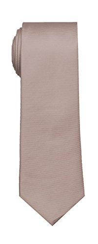SPREZZA Men's Solid Silk Tie Taupe Classic 2.75 inch Slim Necktie