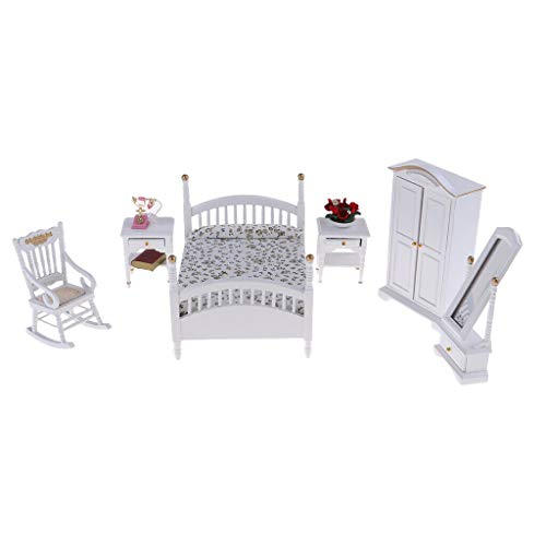 NATFUR 10pc Miniature Bed Wardrobe Chair Table 1/12 Dollhouse Bedroom Furniture Set ()
