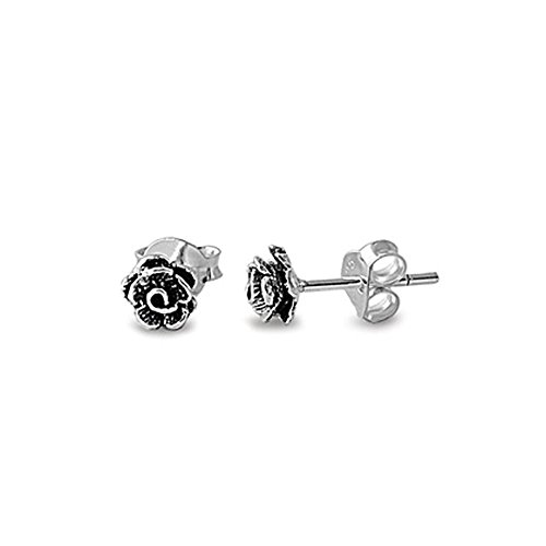 Price comparison product image .925 Sterling Silver Small Rose Bud Stud Earrings