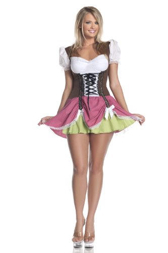 Hollywood Plus Size Costumes (Mystery House Plus Size Swiss Girl Costume, Brown/Fuschia, 2X)