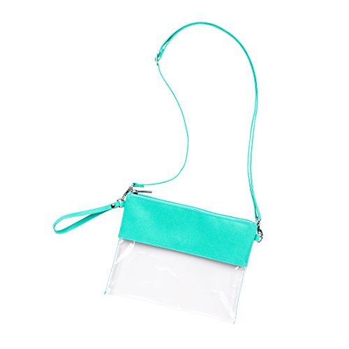 Custom Stadium Clear Zip Pouch with Detachable Crossbody Strap and Wristlet (Monogrammed Mint)
