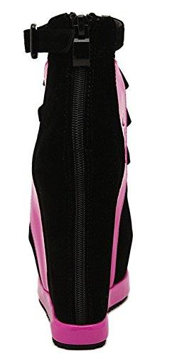 Elastique Aisun Sandales Fermeture Rouge Mode Plateforme Femme Eclair pp8wPAqx