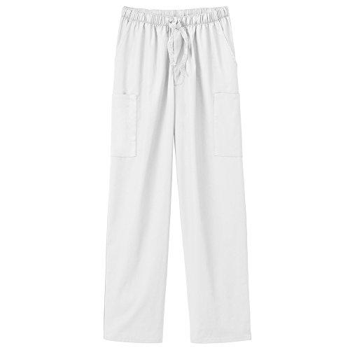Fundamentals 14843 Unisex Five Pocket Scrub Pant White M Short