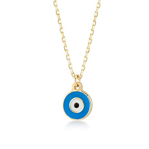 - Gelin 14k Solid Gold Simple Evil Eye Good Luck Enamel Pendant Necklace for Women, 18 Inc