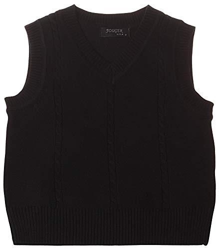 Enimay Kids School Uniform Knit Sweater V-Neck Vest Argyle Pattern Pullover Solid Black 5 Year