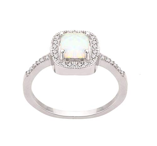 CloseoutWarehouse White Simulated Opal Princess Halo Ring Sterling Silver Size 6