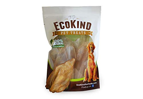 EcoKind Pet Treats Prime Thick-Cut Cow Ear Dog Chews Sourced from All Hand-Inspected and USDA/FDA Approved, Natural, Free Range Grass Fed Cattle with No Hormones, Additives or Chemicals (6 Ears)