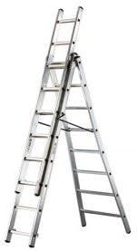 Escalera de apoyo corredera, 3 tramos, de boca ancha-2,35 5,15 m a m: Amazon.es: Hogar