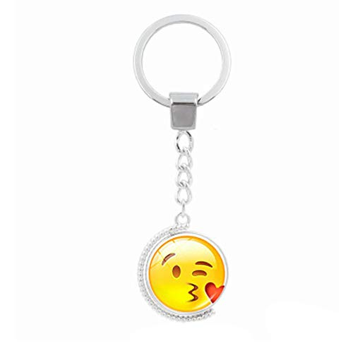Fan-Ling Creative Funny Face Double-Sided Rotating Time Gemstone Metal Key Holder, Keychain,Key Ring, Key Chains,Cell Phone Chain,Glass Pendant Holder,Bag Pendant Car Accessory,Cute Ornaments (A) (Split Fan Mini Motor)