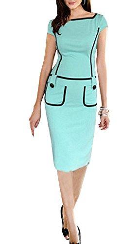 PAKULA Women's Scoop Neck Cap Sleeves Pencil Business Work Button Midi Tank Dress