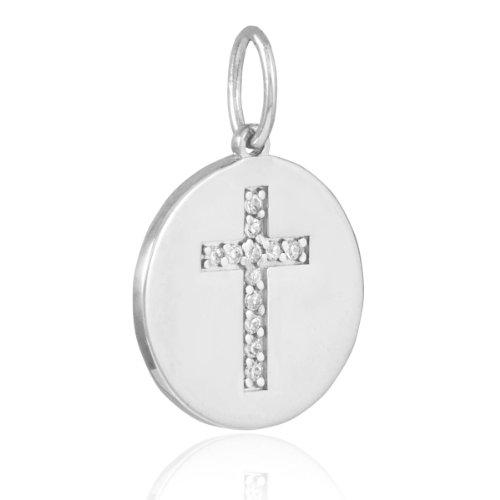 14k White Gold Cross Diamond Disc Pendant