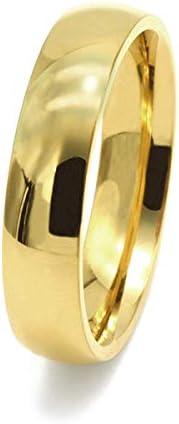[ルビイ] ステンレス 甲丸 指輪(リング) 幅5.0mm 金色 日本サイズ11号
