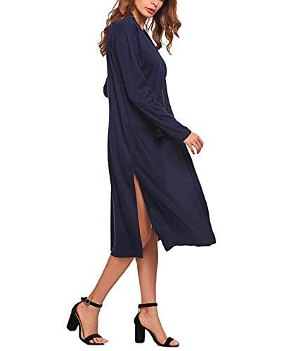 Giaccone Puro Autunno A Sciolto Coulisse Lunga Moda Jacket Giacca Blau Donna Outwear Colore Maglia Confortevole Casual Primaverile Giovane Di Cardigan Manica waxIxvqC