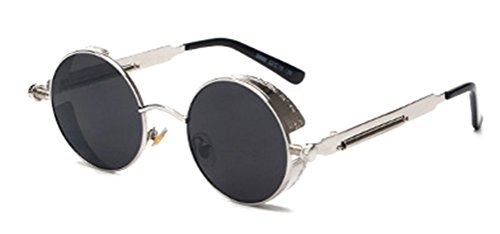 GAMT Retro Gothic STEAMPUNK Round Sunglasses Metal Frame Mirrored Circle Lens Silver Frame - Sunglasses Sale Cheapest