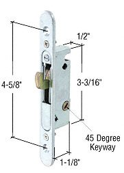CRL Mortise Lock for Sliding Glass Patio Doors, Round End Face Plate, 4-5/8