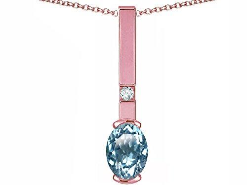Star K Oval 8x6mm Genuine Sky Blue Topaz Bar Pendant Necklace 14 kt Rose Gold
