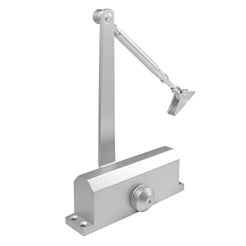 HOMEE Door Closer Satin Stainless Steel Aluminum Alloy Door Accessory with Hydraulic Hinge 2 Adjustment Valves, for Residential and Commercial Door Width up to 1100 mm (Square 99-143 LB)