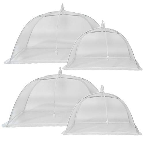 - GIDABRAND (4 Pack) Luxury Mesh Food Covers for Outdoors | Large Pop-Up Food Cover Tents | Highly Durable Picnic Food Covers | Easy to Use Food Umbrella | Keep Flies Away with This Outdoor Food Covers