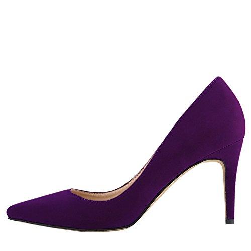 OCHENTA Mujer clasico Zapatos de tacon Resbalon en vestido de las bombas con los colores multi Morado