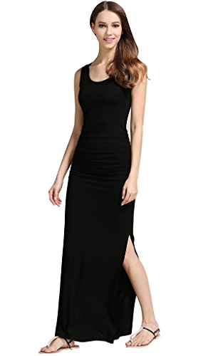 long black fitted maxi dress - 7