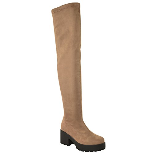 Fashion Thirsty Womens Chunky Mid Heel Stretch Over The Knee Thigh High Boots Platform Size 7