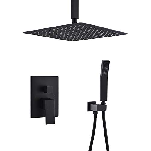 KOJOX Ceiling Rain Shower System with High Pressure 12 inches Rain Shower Head and Handheld All Metal Shower Faucet Set Matte Black