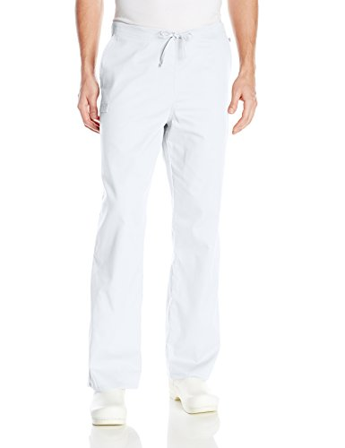 Cherokee Men's Ww Flex with Certainty Unisex Natural-Rise Drawstring Pant, White, Large