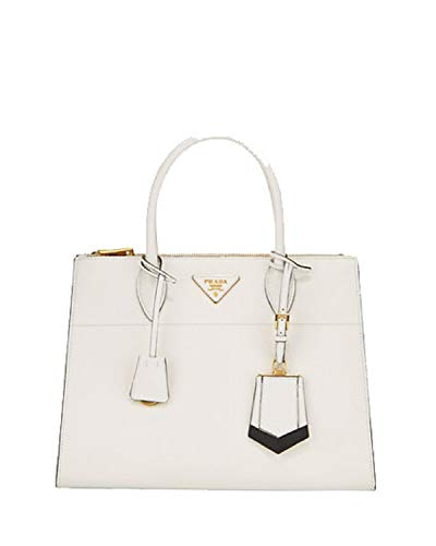 (Prada Saffiano City Leather Cross body Tote Handbag White with Black Trim 1BA102)