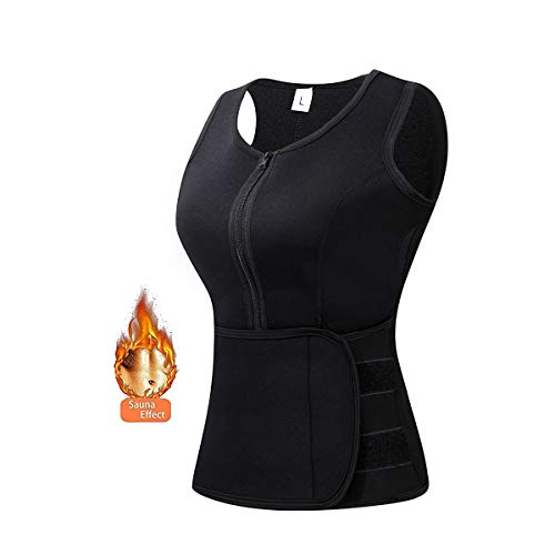 Elejolie Sweat Vest Women Neoprene Hot Sauna Waist Trimmer Adjustable Shaper Belt Slimming Weight Loss Black Tank Top - Large