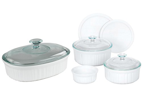 CorningWare 7-Piece French White Bake and Serve Set and 1.5-Quart Oval Baking Dish with Glass Lid (Fiesta Round Chip Dip Tray)