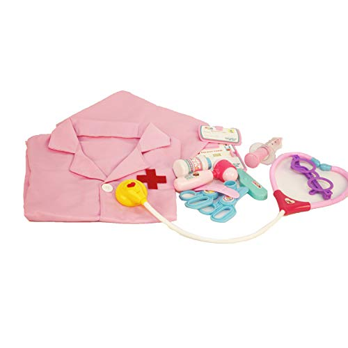 Children 12 Piece Dress up kit Learning Resources Lab Uniform Medical Doctor/Nurse Play Set for Unisex Kids (Pink)]()