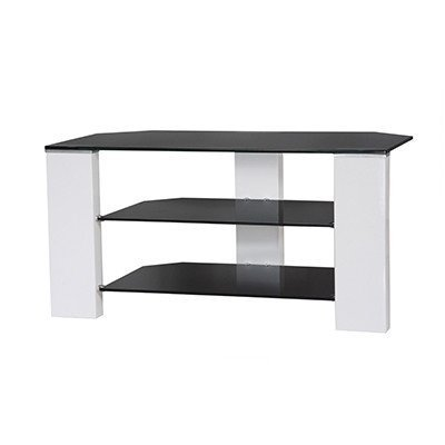 Ideal Furniture Scully TV Stand In White Gloss U0026 Black Glass
