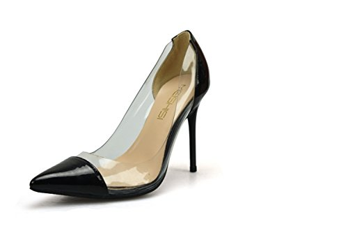 Plstico Baja Zapatos 36 Charol Con Punta Mujer Boca Transparente Aguja Verano Sexy Costura Tacones negro De Sbl wOaIq7E