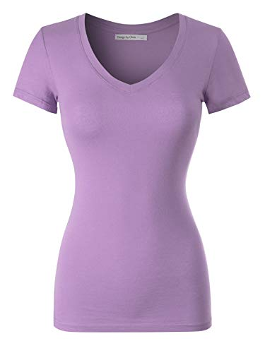 Design by Olivia Women's Basic Solid Multi Colors Fitted Short Sleeve V-Neck T-Shirt, Ibtw014 Soft Lavender, Medium