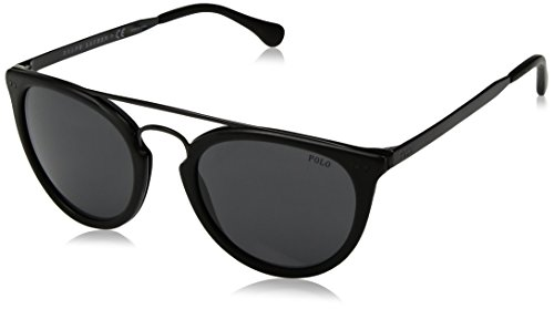 Polo Ralph Lauren Men's Acetate Man Sunglass Round, BLACK VINTAGE FINISCHING, 51 ()