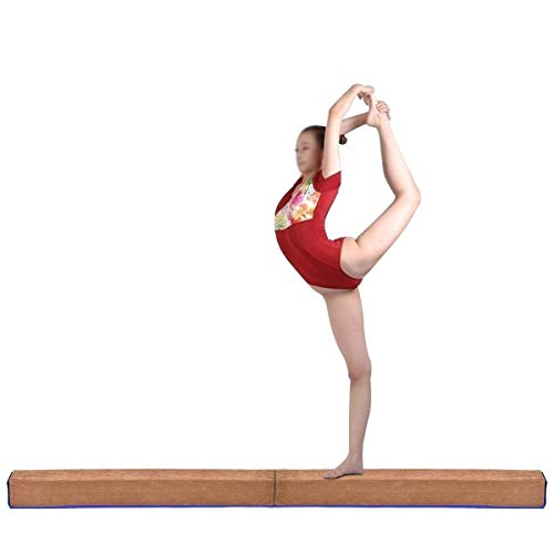 Giantex 8FT Floor Balance Beam Gymnastics Skill Performance Training, for Girls, Boys, Teens Suede Cover Wood Frame Easy Storage, with/Without Rubber Feet End 4 Inch Wide - Suede Beam Balance