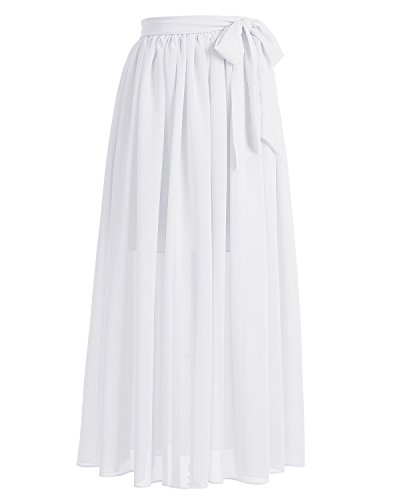 Dresstells®Falda Larga Vintage Retro Gasa Mujer Fiesta Plisada Cinturón Lazo Blanco