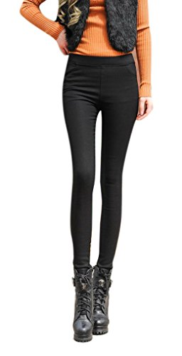 [Women's Thicken Velvet Elastic High Waisted Jeans Skinny Bootcut Leggings Pants] (High Waisted Buckle)