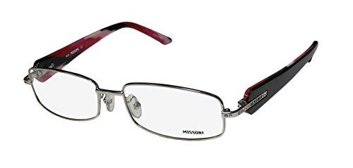Missoni 16101 Womens/Ladies Designer Full-rim Rhinestones Flexible Hinges Eyeglasses/Glasses (53-16-135, Silver / Black / - Frames Missoni Glasses