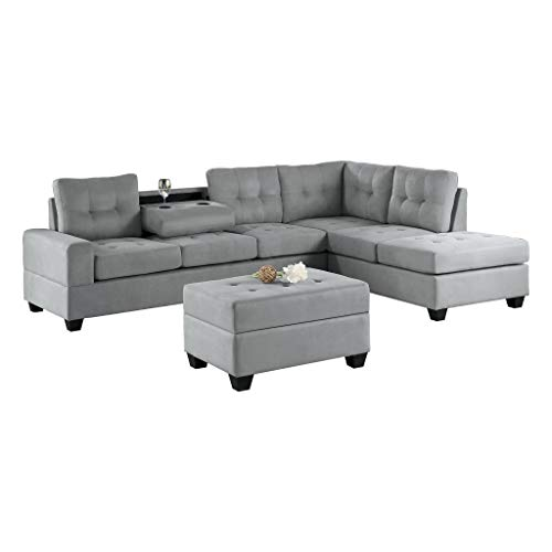 Homelegance Muret Fabric Sectional Sofa and Ottoman Set, Gray