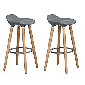 Aingoo Bar Stools set of 2 - Plastic Counter Height Stools, with Solid Wooden Base and Metal Footrest, Perfect as Kitchen Breakfast Barstools, Grey (Stool Breakfast)