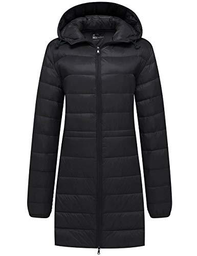Wantdo Women's Hip Length Hooded Down Jacket Packable Puffy Coat Black L