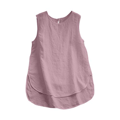 Ladies Linen T Shirt, Cotton and Linen Women Plus Size Linen Tops Tee Vintage Solid Sleeveless Loose Vest Blouse Pink
