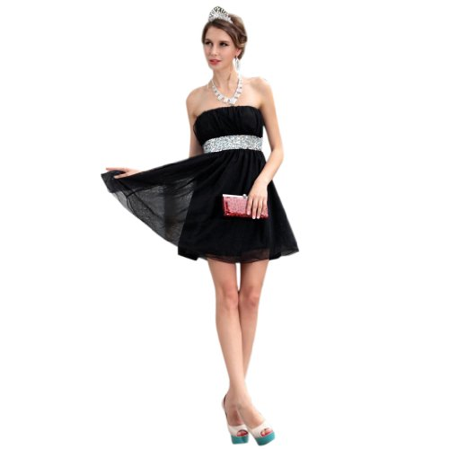 A Kleidungen Chiffon Aermellos Linie Damen Abendkleider Mini Kurz Dearta Reissverschluss Schwarz Traegerlos 6E5AqTOw