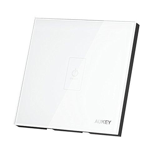 AUKEY Touch Panel Schalter, mit Touchscreen aus Kristallglas-Panel und LED Indikator, geeignet für Badezimmer, Schlafzimmer (Weiß)