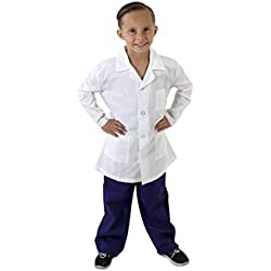 M&M SCRUBS Super Soft Children Scrub Set and Lab Coat Combo Kids Doctor Dress up (4, Ceil Blue Set and White Lab Coat)